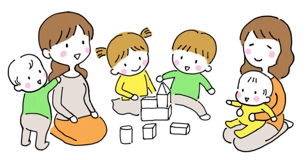 親子で交流するイラスト
